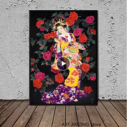 Impresin en lienzo 60x80cm sin marco Decorativo para el hogar Disfraz japons Flores Hermosas impresiones en HD Pinturas Cuadros modulares Arte de la pared Pster Obra de arte