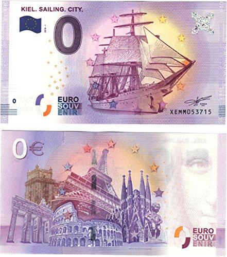 0 Euro Schein Gorch Fock - Kiel Sailing City 2018 - Null Euro Souvenier Banknote mit verschiedenen Sehenswürdigkeiten