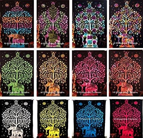 Indische Hippie Baum des Lebens Wandteppichen Wandteppich, indisches Tie Dye, Elefant Wandteppichen Wandteppich, Twin Alter Wohnheim, Tischdecke, Baumwolle Tagesdecke Decor Werfen, Picknick Strand Tabelle, 137,2x 218,4cm, 50Großhandel, von bhagyoday