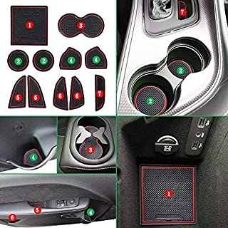JEYODA Non-Slip Anti-dust Custom Fit Cup, Door, Console Liner Accessories for Dodge Challenger 2015 2016 2017 2018 2019-11pcs Set (Red)
