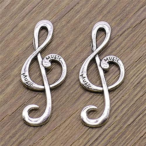 LLBBSS 6 Piezas Encantos De Notas Musicales Colgante DIY Fabricación De Metal Color Plata Antiguo Artesanía Hecha A Mano 15X36 Mm