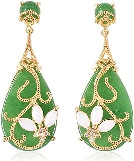 Green Jade White Opal Dangle Drop Earrings 925 Sterling Silver Vermeil Yellow Gold Jewelry for Women