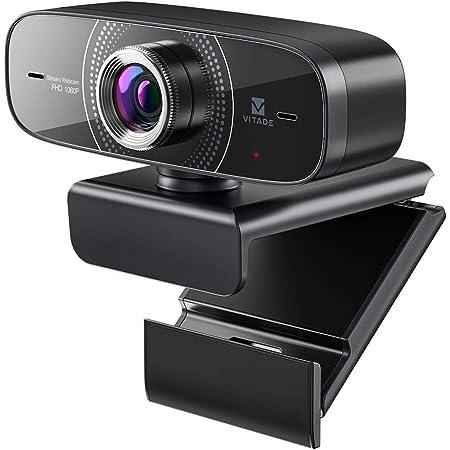 【2021年版】 webカメラ マイク内蔵 ウェブカメラ 広角 1080P 30fps フルHD 200万画素 USB接続 プラグアンドプレー PC Mac対応 ノイズキャンセリング機能 自動光補正 三脚対応 多角度調整 zoom skype ウェブ会議 ビデオ通話 WinXP/Vista / Win10など互換性-Vitade 826M