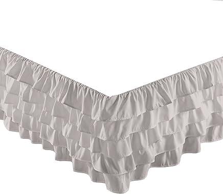 Chezmoi Collection Ella 15 Drop Multi Ruffle Waterfall Bed Skirt (Full,  Gray)