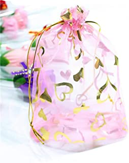 50PCS 5x7 inch Heart Organza Drawstring Bags Jewelry Pouch Bags Jewelry Party Wedding Favors Party Christmas Festival Gift...