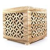 Homestyle4u 1773, Hocker Beistelltisch Holz, Würfel Nachttisch Natur Braun