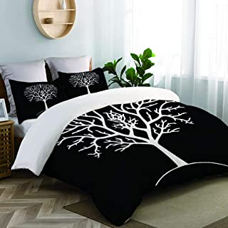 CANCAKA Autumn Tree Silhouette Black and White Gondor Lord of The Ring Branches Drawing Studio Single Apartment Decorate Decorative Custom Design 3 PC Duvet Cover Set Queen/Full