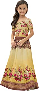 Ready To Wear Indian Designer 2 in 1 Digital Flower Print Work Gown & Lehenga For Baby Girls Satin Silk With Hand Work Tra...