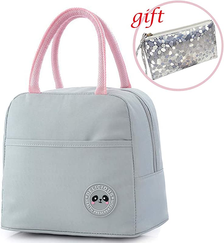 BIRETDA Insulated Lunch Bags For Women Or Men Leakproof Soft Cooler Tote Bag Lunch Organizer Holder For Office Picnic Light Grey