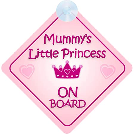 tema principess001 Cartello per auto per bambini//bambine mybabyonboard UK Princess on Board