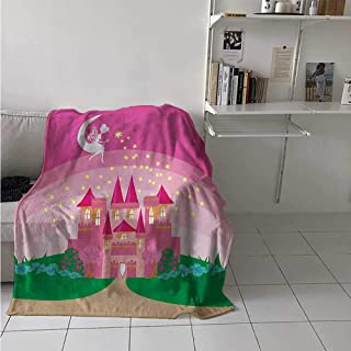 Girls Digital Printing Blanket Magic Fantasy Fairy Tale Princess Castle with Pixie in Sky Fictional Dream Kingdom Summer Quilt Comforter 62x60 Inch Pink Green