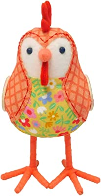 Spritz - Spring / Easter Fabric Bird: Roaster - Orange and Floral Chicken with Checkered Jacket