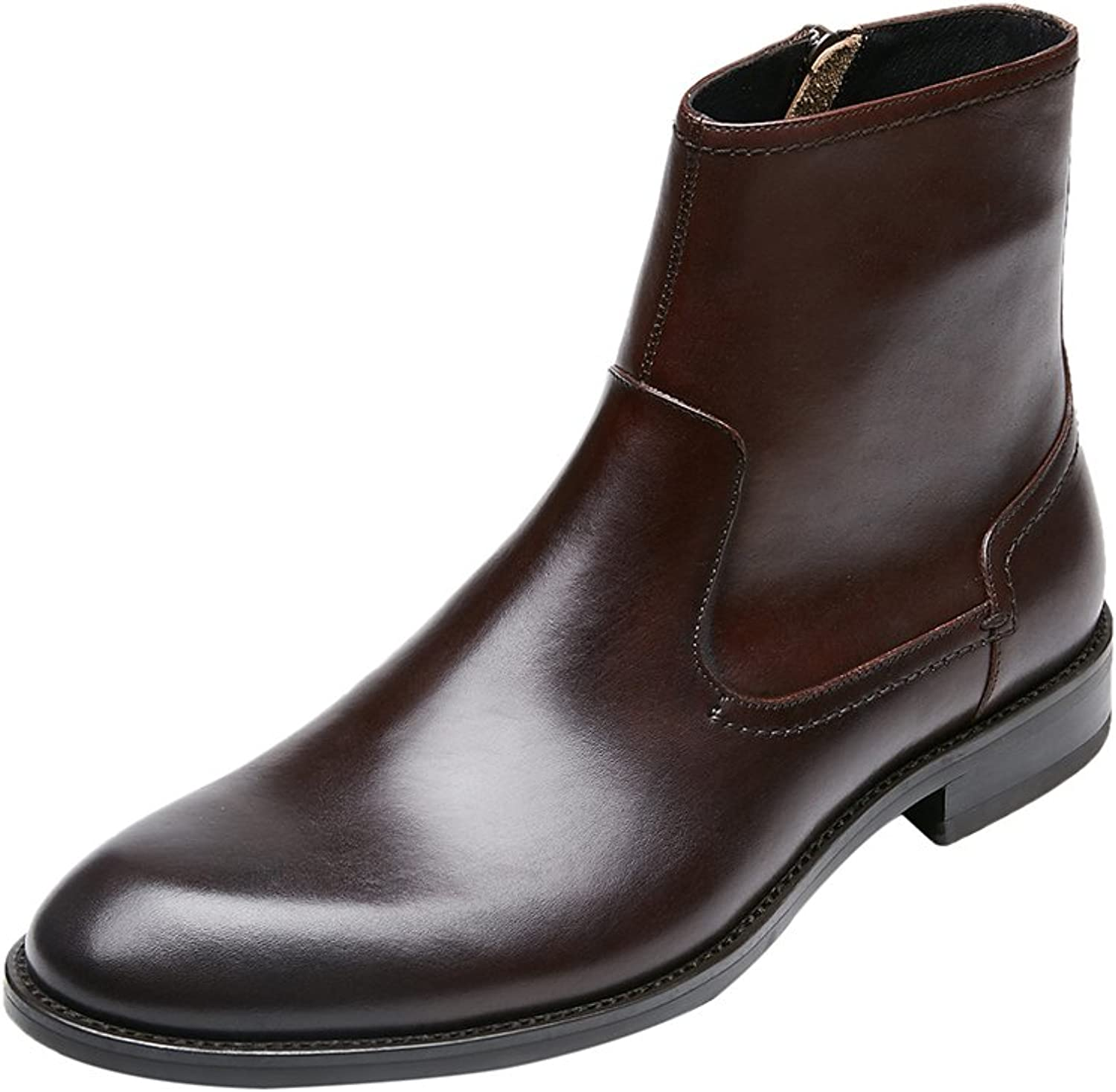 KINGSTEP Men's Fashion Comfort Leather Ankle Boots Zipper Dress Boots