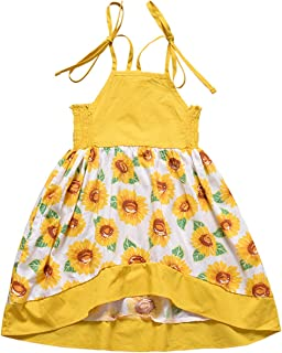 LYSMuch Toddler Baby Girl Summer Dress Princess Halter Sunflower Printed Outfits Kids Clothing