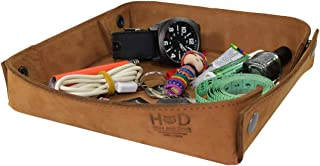 Hide & Drink Leather Catchall Change Keys Coins Jewels Box Tray Big Storage Handmade Includes 101 Year Warranty :: Toffee Suede