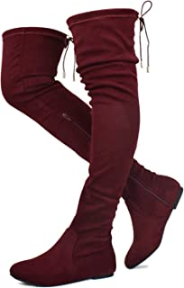 Prime Shoes - Women's Fashion Comfy Vegan Suede Side Zipper Over Knee High Boots