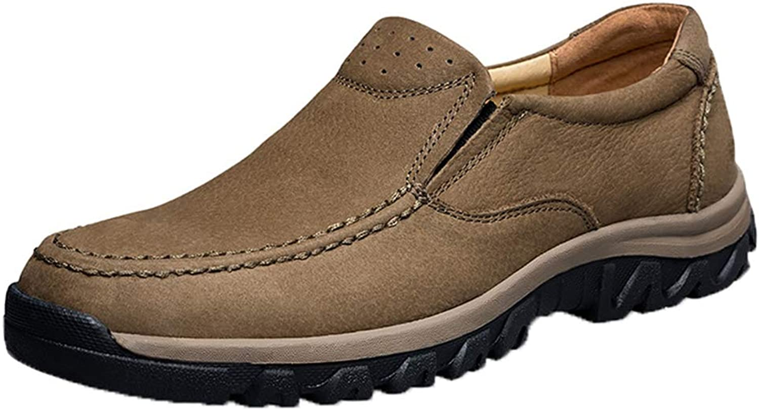 Men Dress shoes Casual Leather Slip-On Brown Plus Size Office Wedding Business shoes