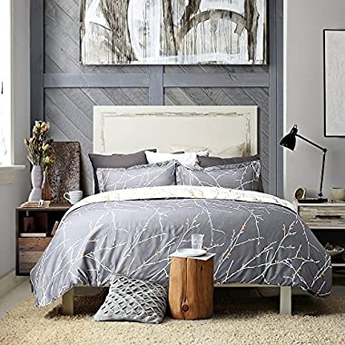 Bedsure Duvet Cover Set with Zipper Closure-Grey/Ivory Printed Pattern,King (104 x90 )-3 Piece (1 Duvet Cover + 2 Pillow Shams)-110 gsm Ultra Soft Hypoallergenic Microfiber