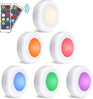LED Closet Lights Elfeland RGB Puck Lights 16 Colors 3 Modes Fairy Lights Wireless Under Cabinet