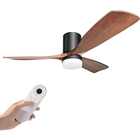 Amazon Com Hakkatronics 52 Flush Ceiling Fans With Lights And Remote Control Dc Motor At 6 Speed And 9 Timer Outdoor Indoor Ceiling Fan For Living Room Kitchen Bedroom Walnut Black Kitchen Dining