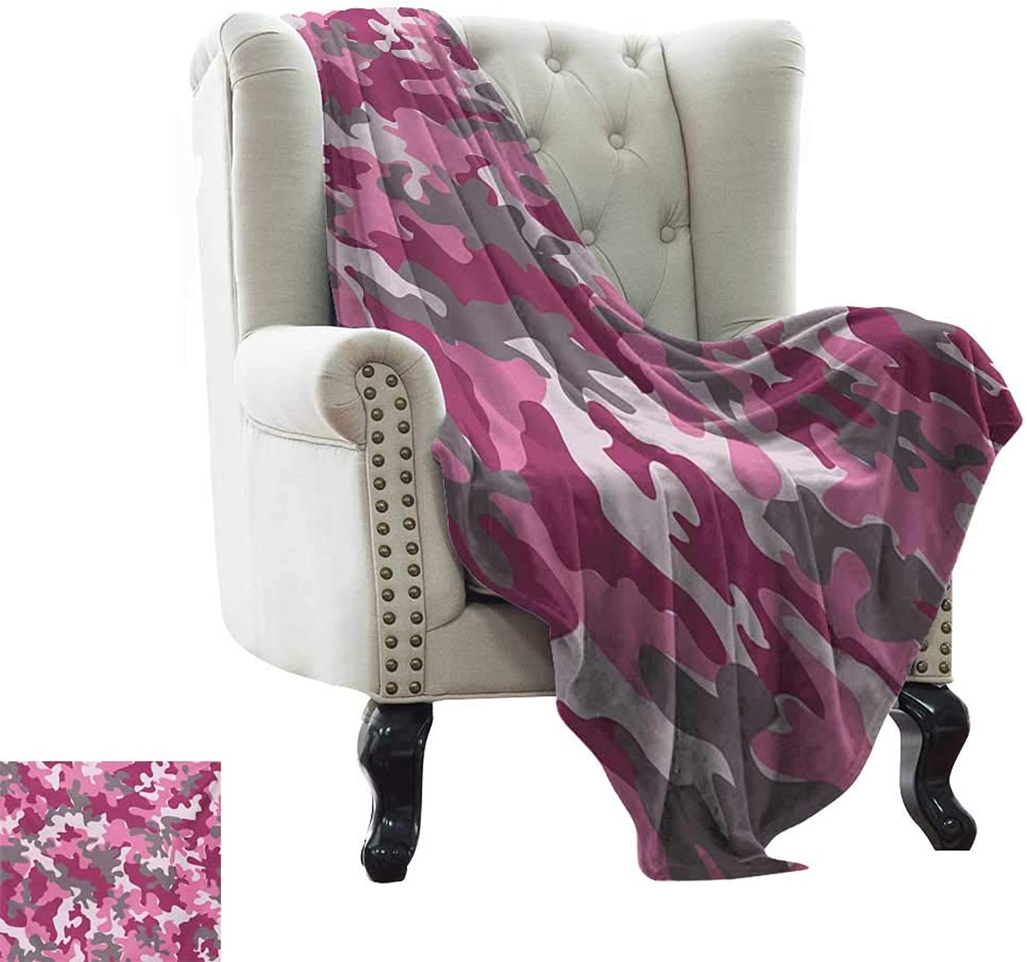 LsWOW Travel Blanket Camo,Cute Sweet Pattern in Pink Tones Feminine Design Girlish Vibrant Artistic,Magenta Hot Pink Grey Indoor Outdoor, Comfortable for All Seasons 50 x60