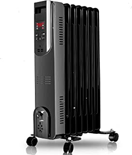 Oil Heater - 1500W Electric Radiator Heater with Remote Control, 250 Sq Ft Coverage, Tip-Over & Overheating Protection, Smart Digital Display, Oil Heater for Large Home Office