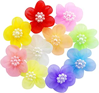 Pralb 60pcs Organza Ribbon Flowers with Beads Appliques Birthday Party Wedding Decorations DIY Project Craft,1.4inch (Multi-Color)