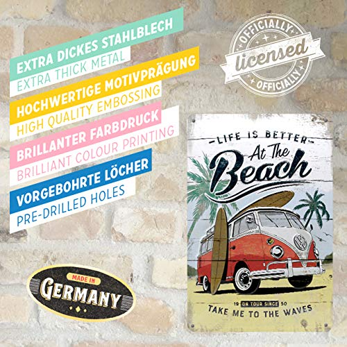 Nostalgic-Art Cartel de Chapa Retro VW – Bulli T1 – Beach – Idea de Regalo...