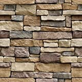 Stone Peel and Stick Wallpaper - Self Adhesive Wallpaper - Removable Contact Paper, Wall Paper, or Shelf Paper – 3D Faux Textured Stone Wall Look - Brick Wallpaper (17.71' Wide x 393' Long) (4)
