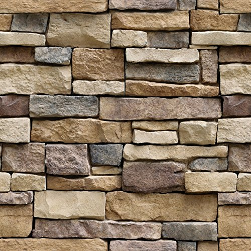 Stone Peel and Stick Wallpaper - Self Adhesive Wallpaper - Removable Contact Paper, Wall Paper, or Shelf Paper – 3D Faux Textured Stone Wall Look - Brick Wallpaper - (1, 17.71' Wide x 393' Long)
