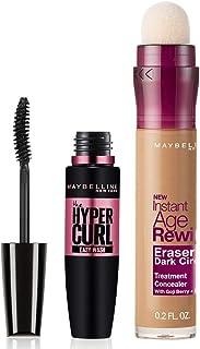Maybelline New York Hypercurl Mascara Washable, Black, 9.2ml & Maybelline New York Instant Age Rewind Concealer, Caramel, 6ml