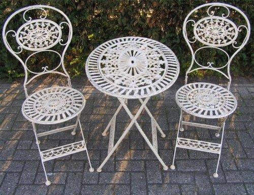 Casa Padrino Jugendstil Gartenmöbel Set Altweiss - 1 Tisch, 2 Stühle - Eisen - Garten Möbel...