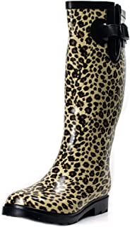 Women's Rubber Puddle Rain and Snow Boot Midcalf Waterproof Wellies Leopard Rainboots