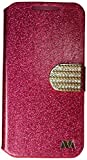 Asmyna HTC Desire 510 Glittering MyJacket Wallet Carrying Case with Diamante Belt - Retail Packaging - Hot pink