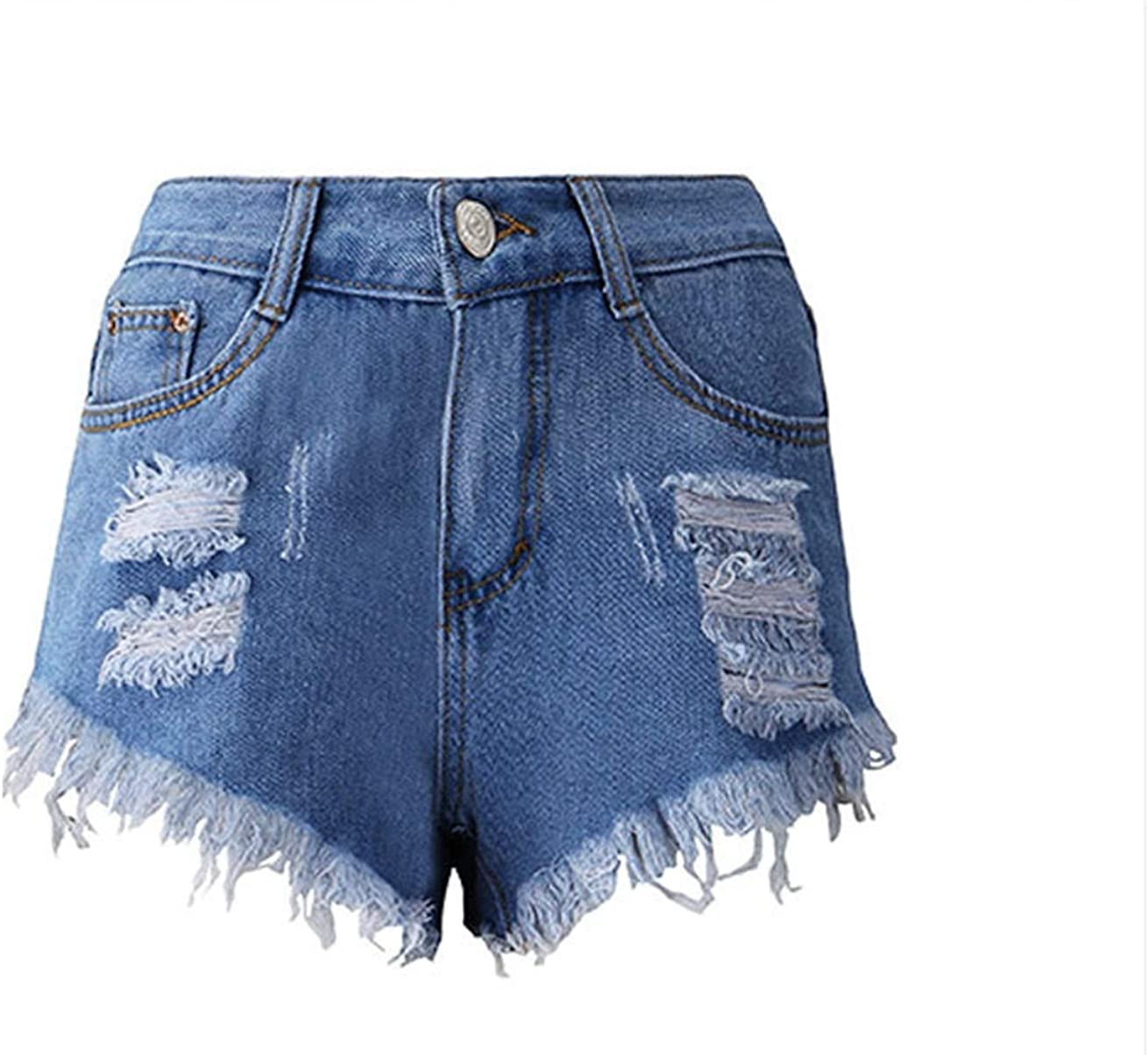 Women's Casual Stretchy Denim Shorts Hot Pants with Pockets