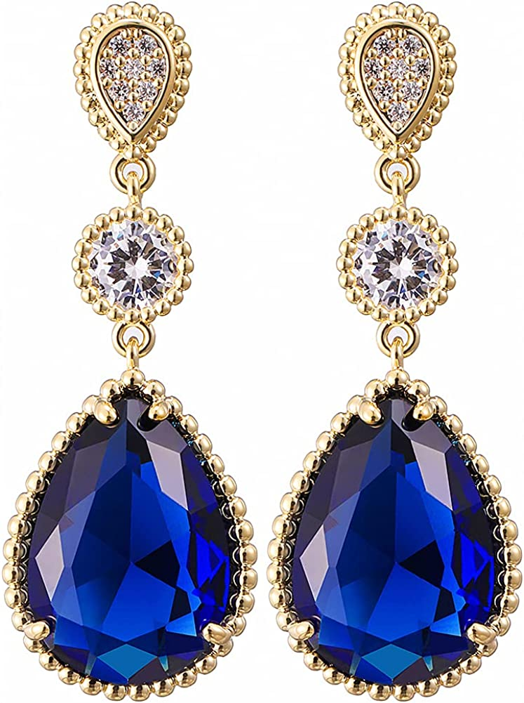 14K Gold Plated Cubic Zirconia Inlaid with Multi Crystal Drop Shaped Earrings