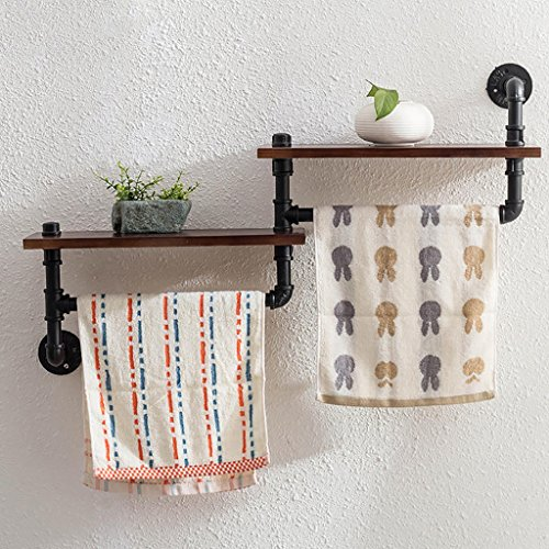 ZXZWJ Wandregal LOFT Wooden Kleiderständer Retro Iron Water Pipe Shelf Bad Handtuch Rack WC Bad Handtuch Regal Wand Ausstellungsstand