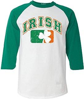 Vintage Irish Flag Shamrock Baseball Shirt St. Patricks Day Raglan Shirt