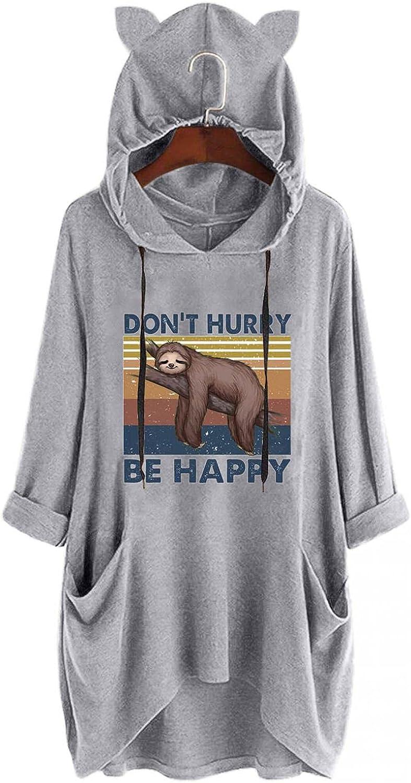 AODONG Sweatshirt for Women Hoodies Cat Ear Graphic Pullover Hoodies Tops Plus Size Long Sleeve Sweatshirt with Pockets