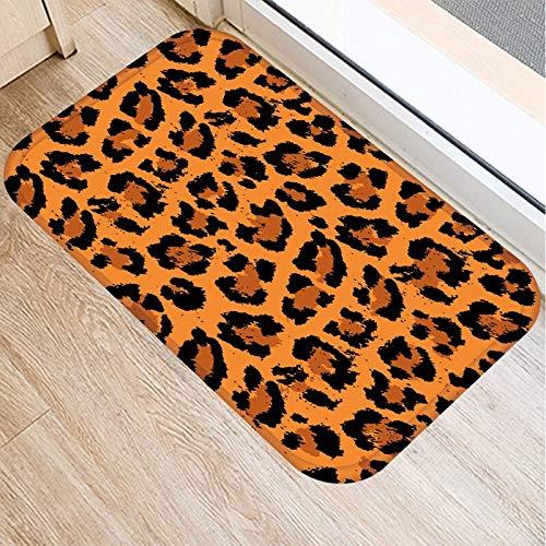 OPLJ Alfombra de Puerta Antideslizante con Estampado de Leopardo Alfombra de Puerta de Entrada de Cocina Alfombra de Gamuza Alfombra de Piso Interior de Color de Goma Alfombra A2 40x60cm