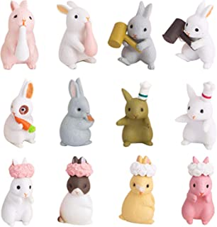 12 PCS Easter Mini Bunny Figurines Easter Cake Cupcake Toppers,Easter Ornaments Rabbit Fairy Garden Miniature Figurines Co...