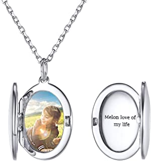 925 Sterling Silver Customized Full Color Photo Locket Necklace with Chain 16-22