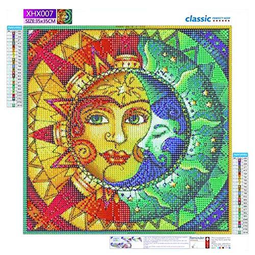 YEES Kit de pintura de diamante 5D, cara de sol y luna, pintura de diamantes de imitación, bordado y punto de cruz, para adultos principiantes, decoración de pared del hogar, 12 x 16 cm