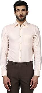 Raymond Half Sleeve Cut Away Contemporary Fit Light Orange Cotton Solid Shirt for Men