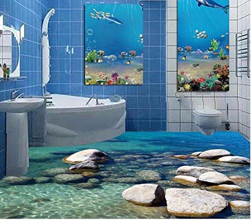 Weaeo 3D-Bodenbeläge Wasser Stein Gepflasterten 3D Malerei Im Bad Tapeten Pvc Selbstklebend Tapeten-280 X 200 Cm