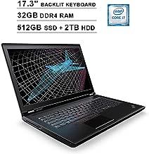 2019 Lenovo ThinkPad P71 17.3 Inch FHD 1080p Laptop (Intel 4-Core i7-7820HQ up to 3.90 GHz, 32GB DDR4 RAM, 512GB SSD (Boot) + 2TB HDD, NVIDIA Quadro M620 2GB, Backlit KB, FP Reader, Windows 10 Pro)
