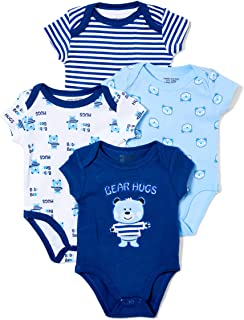 Sweet & Soft Baby Boys 4 Pack Printed Bodysuits
