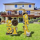chiazllta Graduation Yard Sign Lawn Decors Grad 2021 Outdoor Decor for 2021 Grad Party Favor Supplies Golden Grad WaterproofWalkway Patio Decorations(Black and Gold)