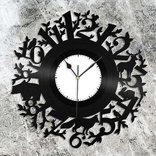 ZZLLL Horloge Murale en Vinyle Animal forestier 12 Pouces Cadeau Unique pour Les Amoureux des Animaux, décoration de la Chambre des Enfants Design rétro Bureau Bar Chambre décoration de la Maison