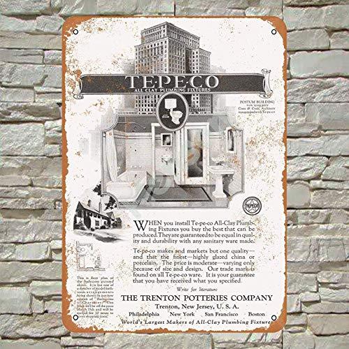 1928 Te-Pe-Co Clay Plumbing Postum Building Blechschild Metall Plakat Warnschild Retro Eisenblech Plakette Jahrgang Poster Schlafzimmer Familie Wand Aluminium Kunstdekor